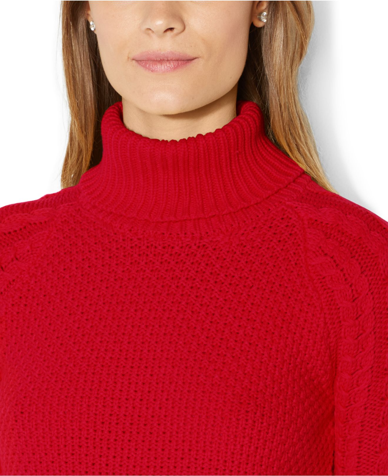Lauren by ralph lauren Cable-Knit Turtleneck Sweater in Red | Lyst