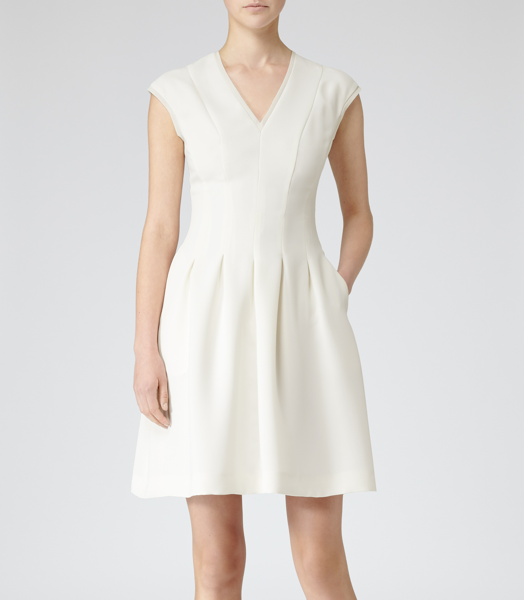 Reiss Lizzie Pleat Fit And Flare Dress In Cream White Lyst