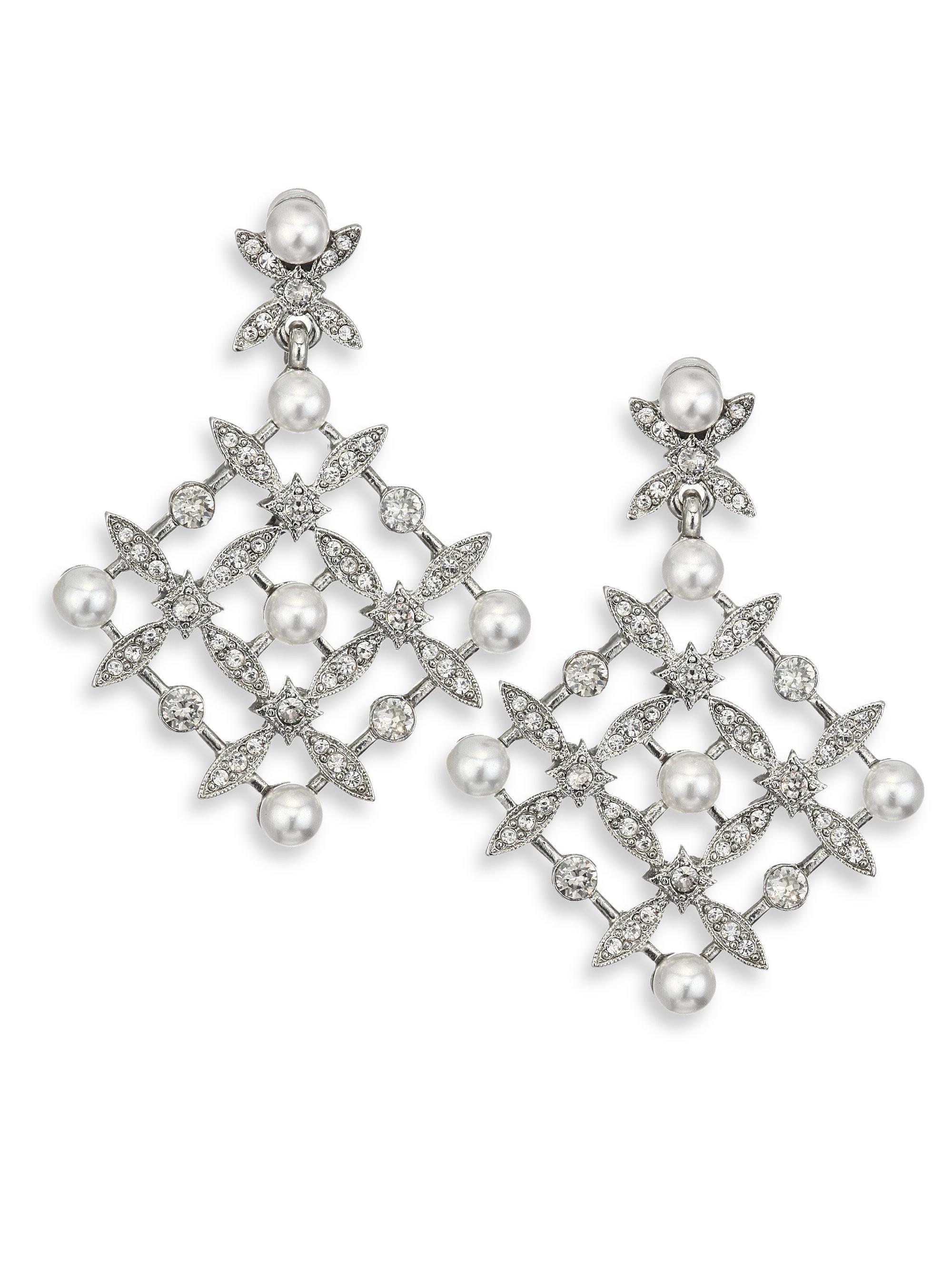 Lyst oscar de la renta lattice crystal faux pearl chandelier gallery arubaitofo Gallery
