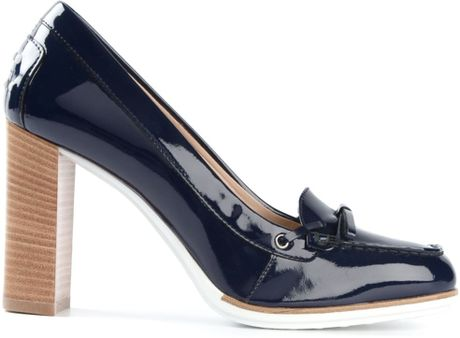 Tod S Chunky Heel Loafers In Blue Lyst