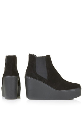 TOPSHOP Helter Suede Wedge Ankle Boots in Black