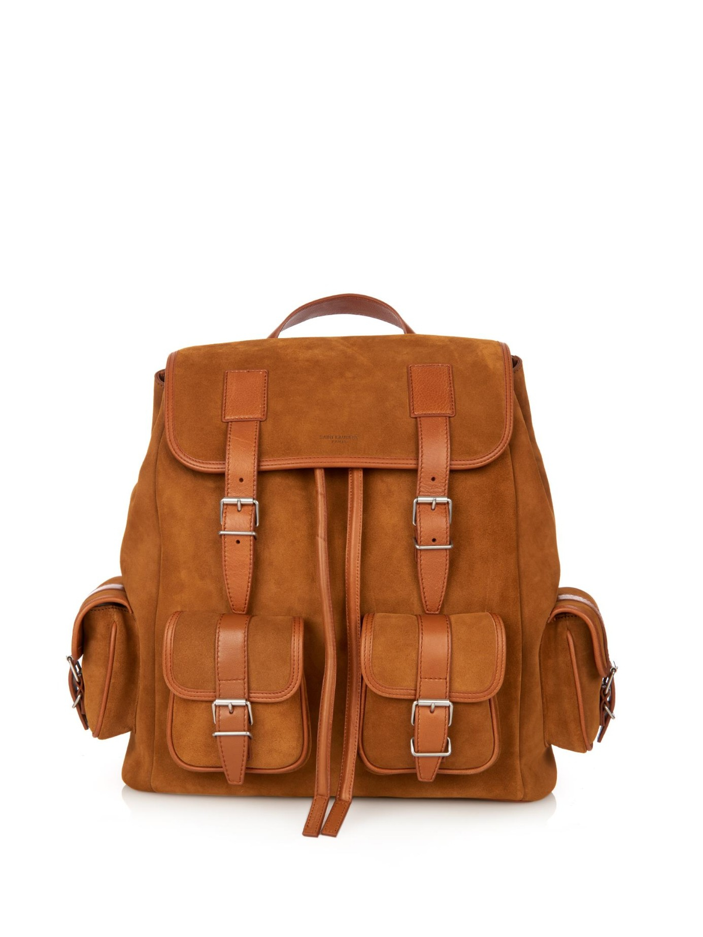 Saint laurent Suede And Leather Backpack in Brown for Men | Lyst