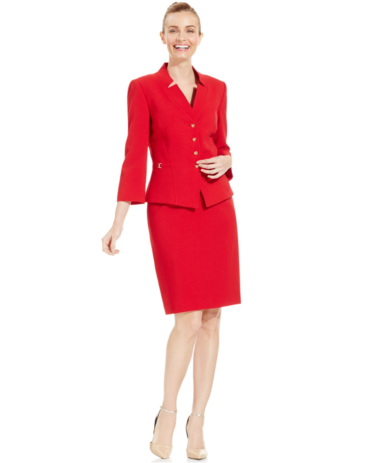 Tahari Four-button Crepe Skirt Suit in Red | Lyst