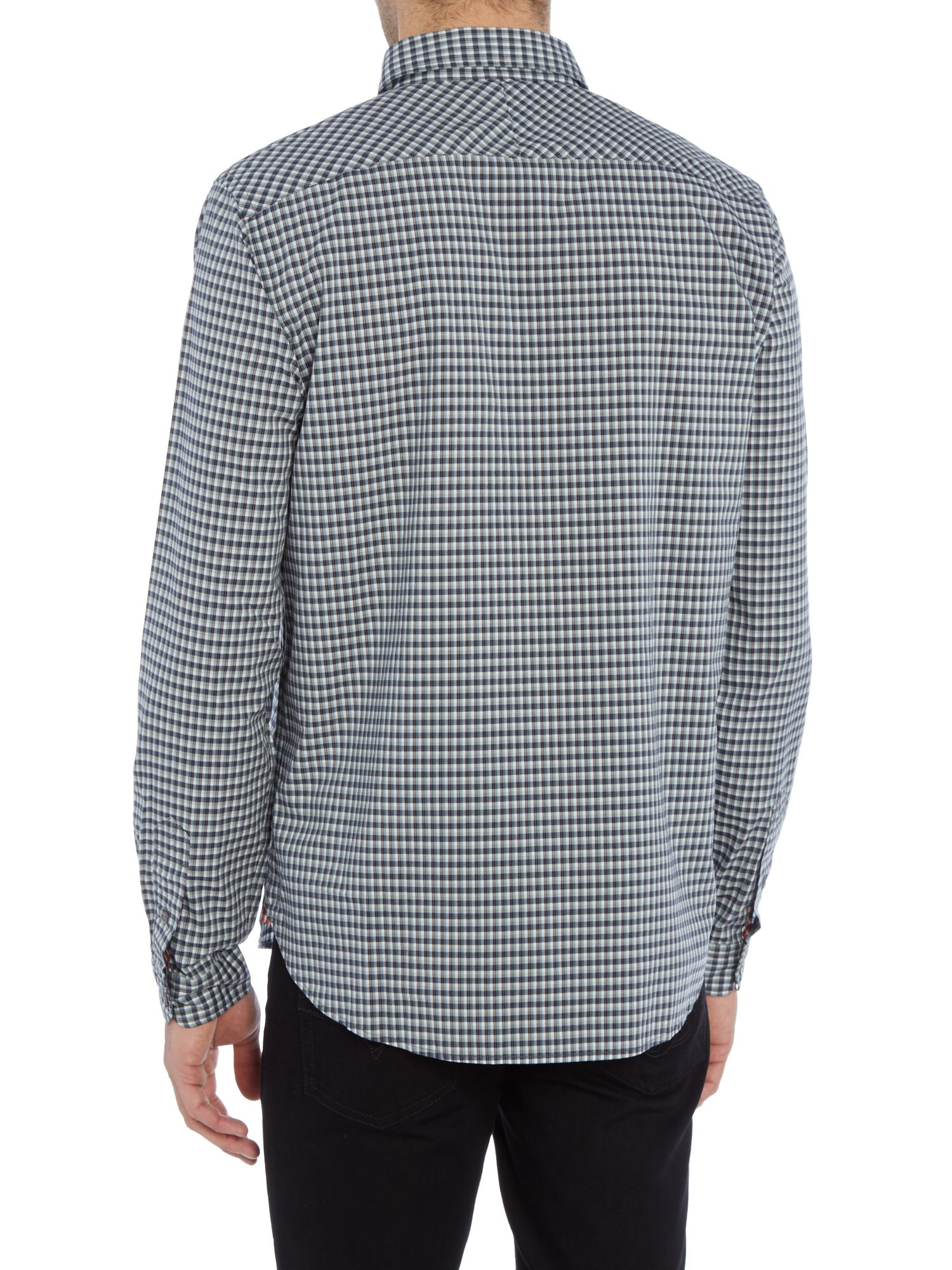 Paul Smith Tailored Fit Micro Check Shirt in Navy (Blue) for Men