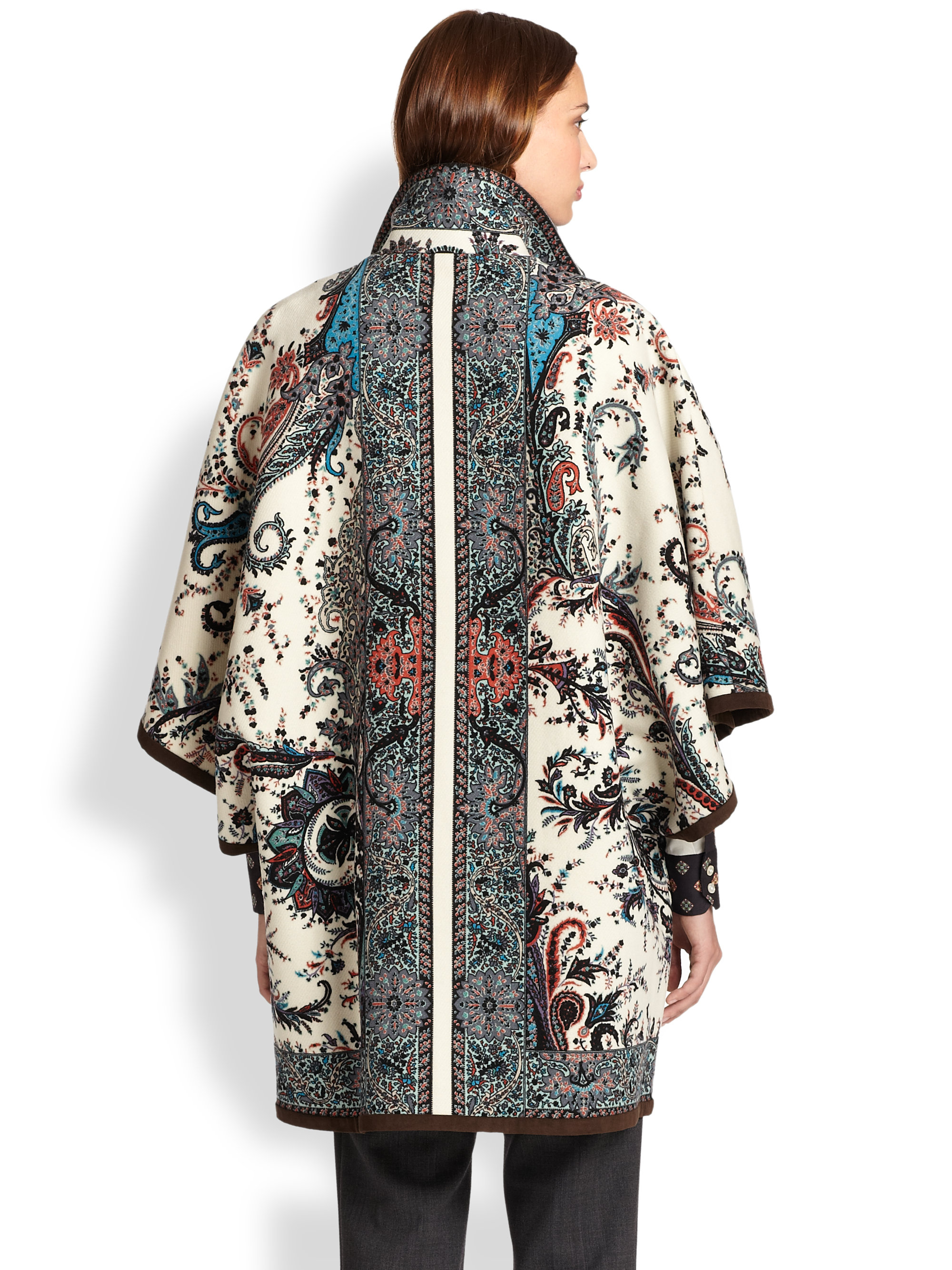 Lyst Etro Paisley Knit Poncho Coat