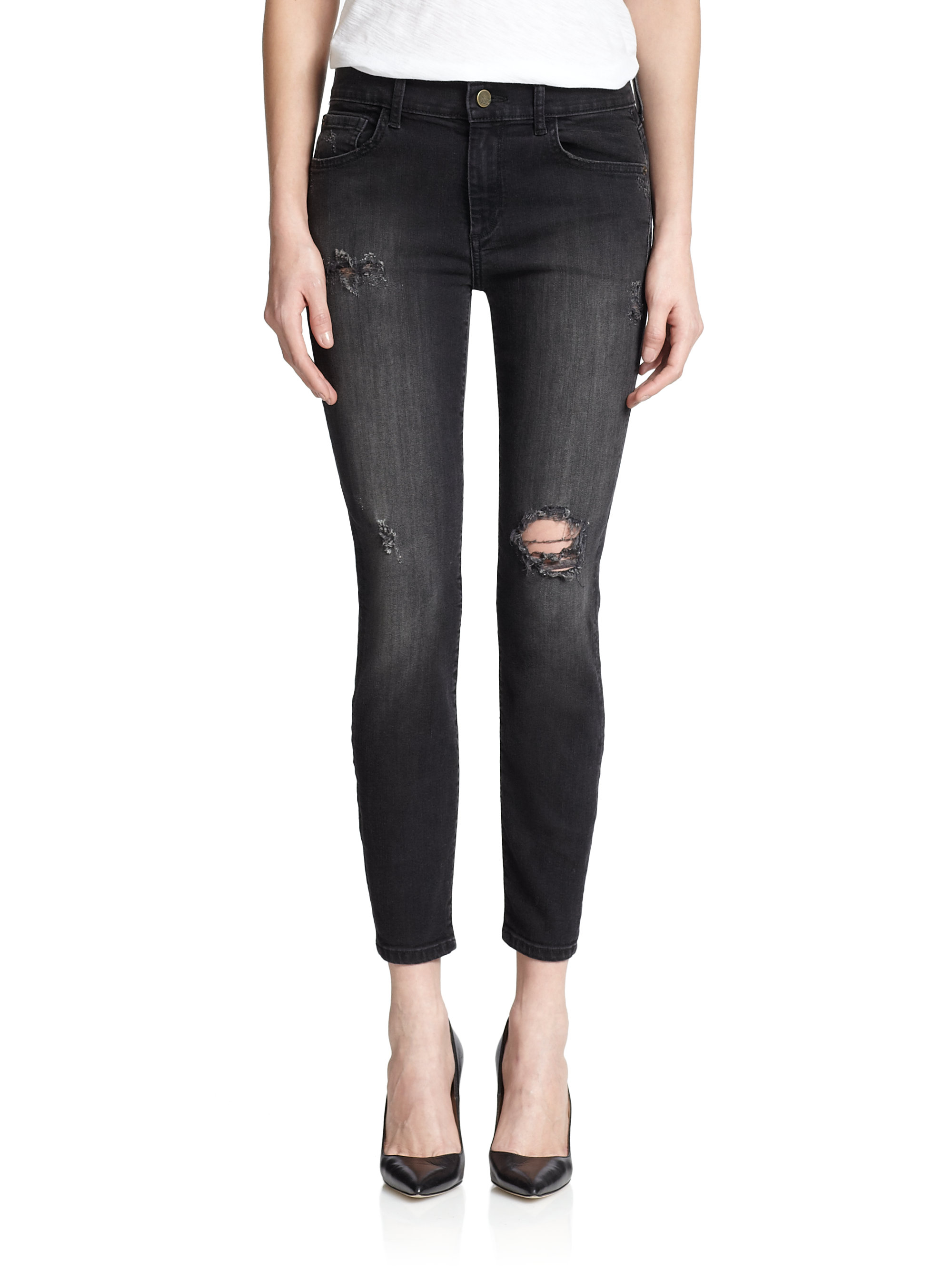 lyst madegold distressed low rise skinny jeans in blue. Black Bedroom Furniture Sets. Home Design Ideas