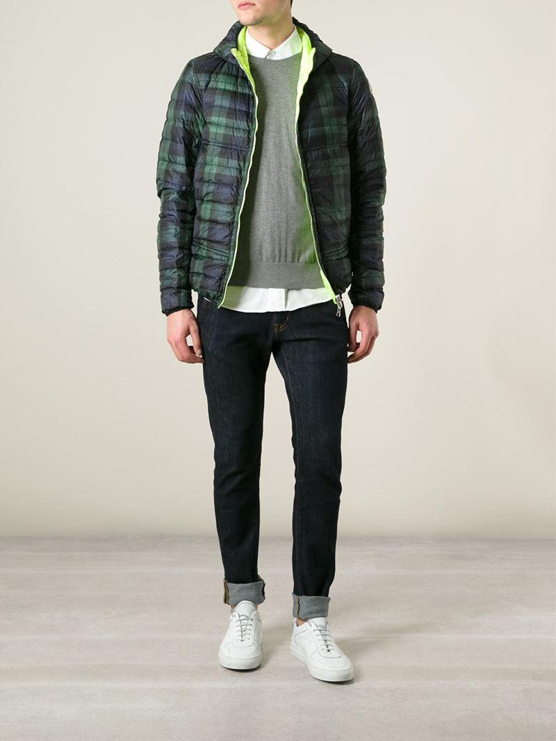 Moncler Plaid Reversible Padded Jacket in Green for Men