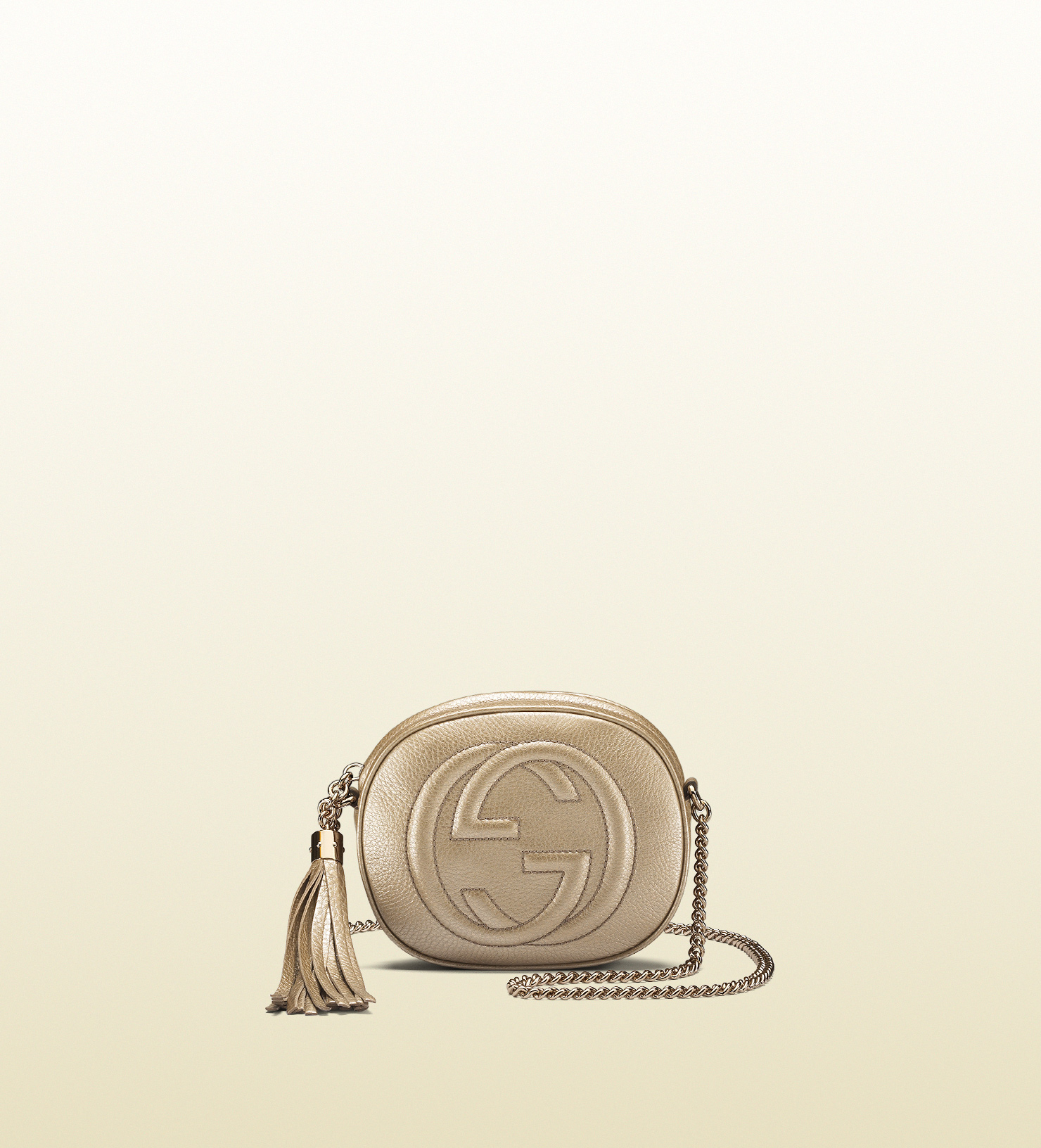 2fe95af9fdf Lyst - Gucci Soho Metallic Leather Mini Chain Bag in Natural