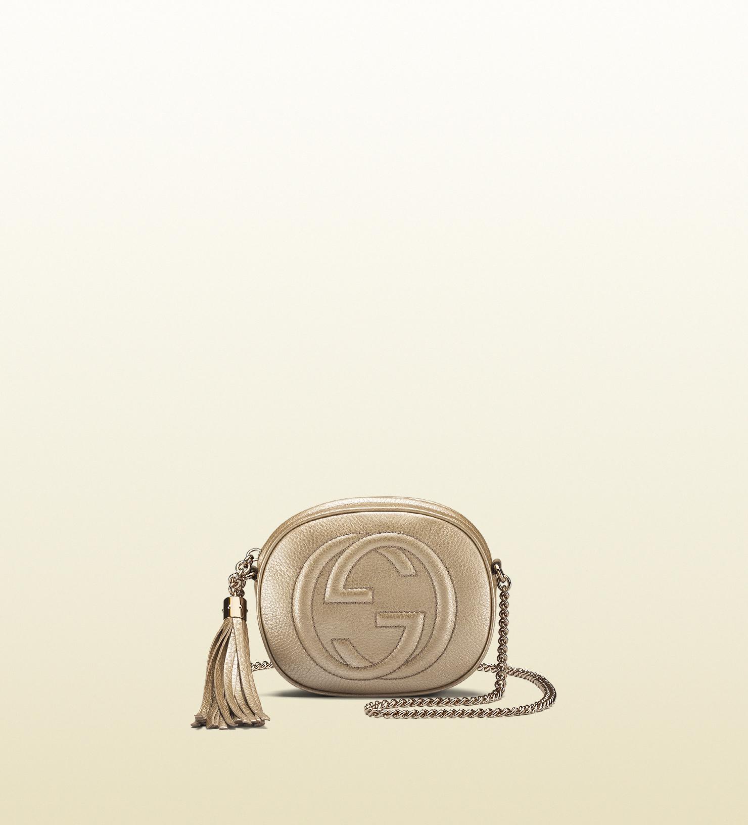23197b89bd37 Lyst - Gucci Soho Metallic Leather Mini Chain Bag in Natural