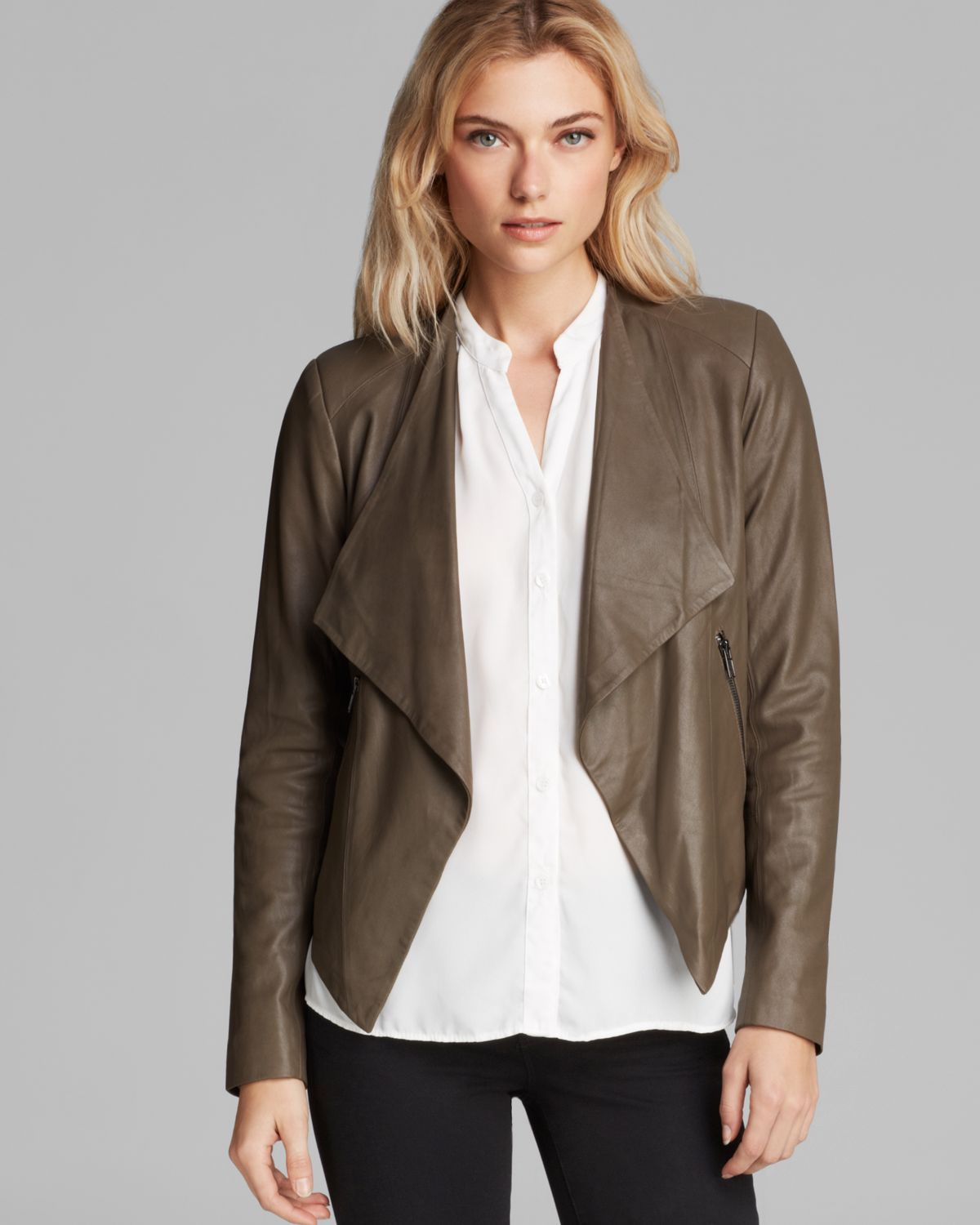 Bb dakota Harper Soft Leather Jacket in Brown | Lyst
