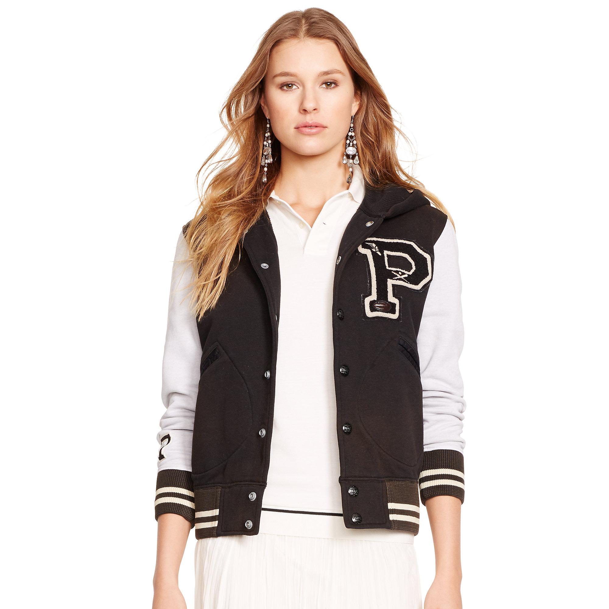 0d90501eb Ralph Lauren Black Fleece Hooded Varsity Jacket