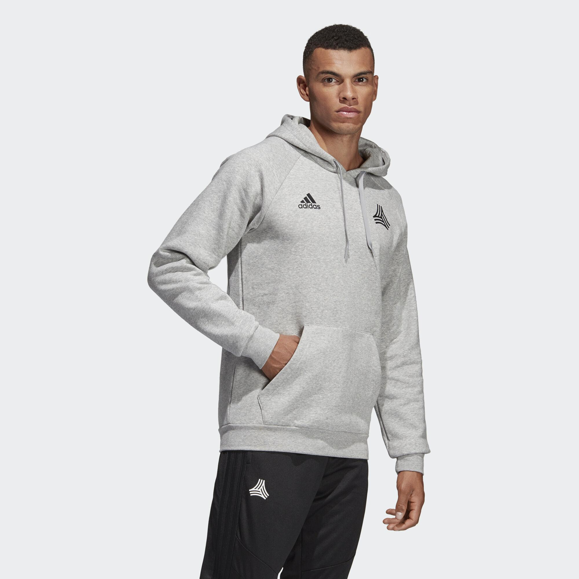 adidas Cotton Tan Graphic Hooded Sweatshirt in Gray for Men