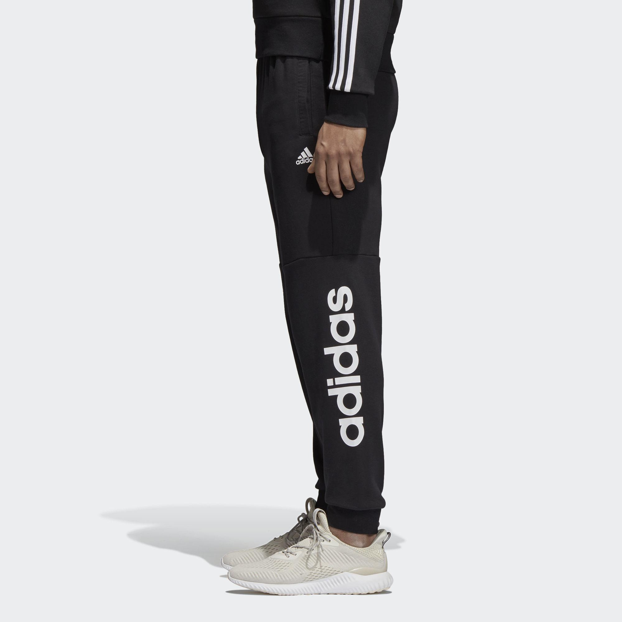56a50a7961a7a9 Adidas - Black Essentials Linear Tapared Pants for Men - Lyst. View  fullscreen