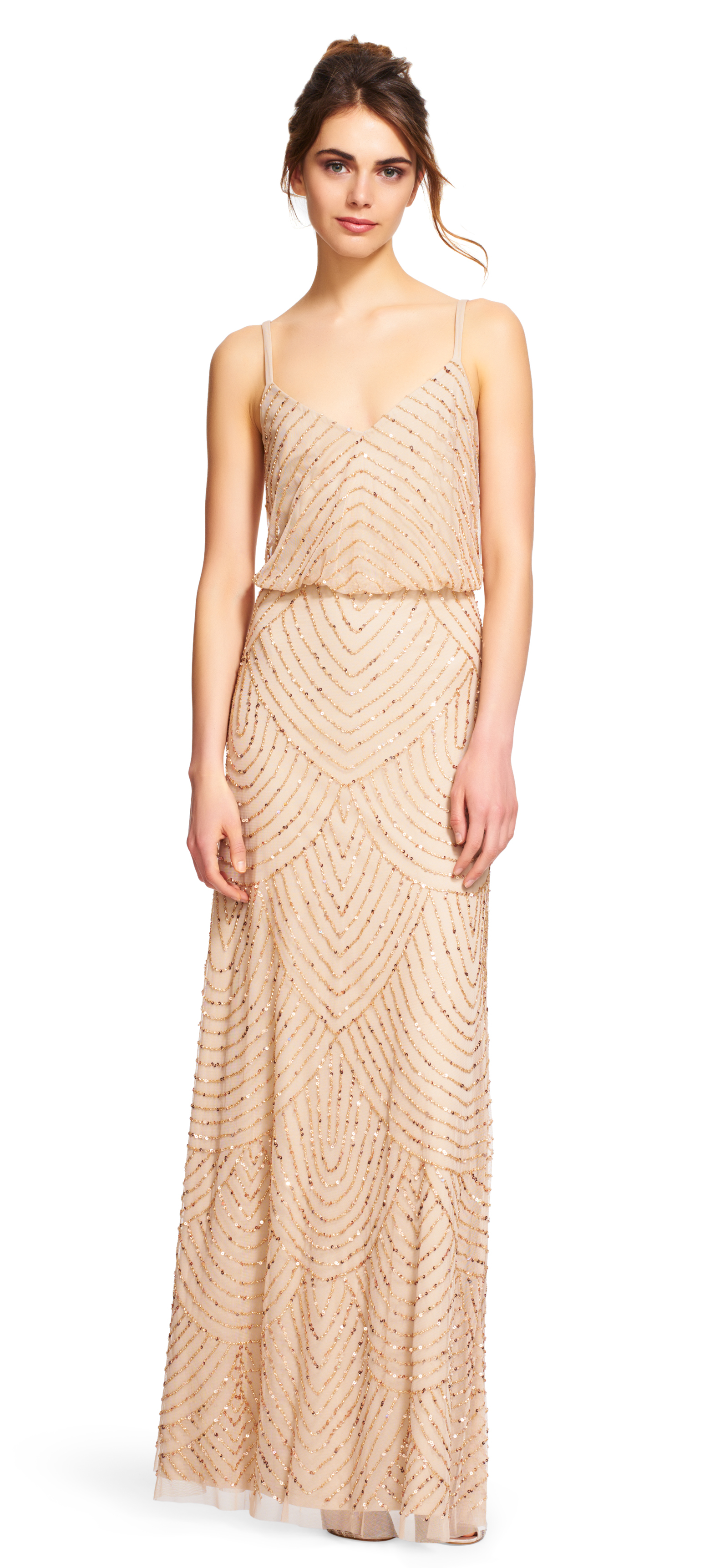Adrianna Papell Art Deco Beaded Blouson Gown In Metallic