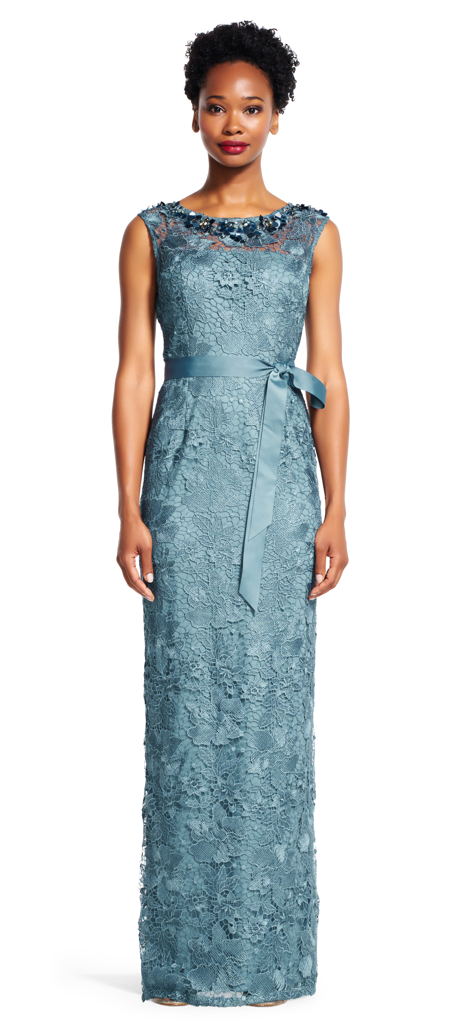 Adrianna papell Short Sleeve Lace Column Gown With Sheer ...