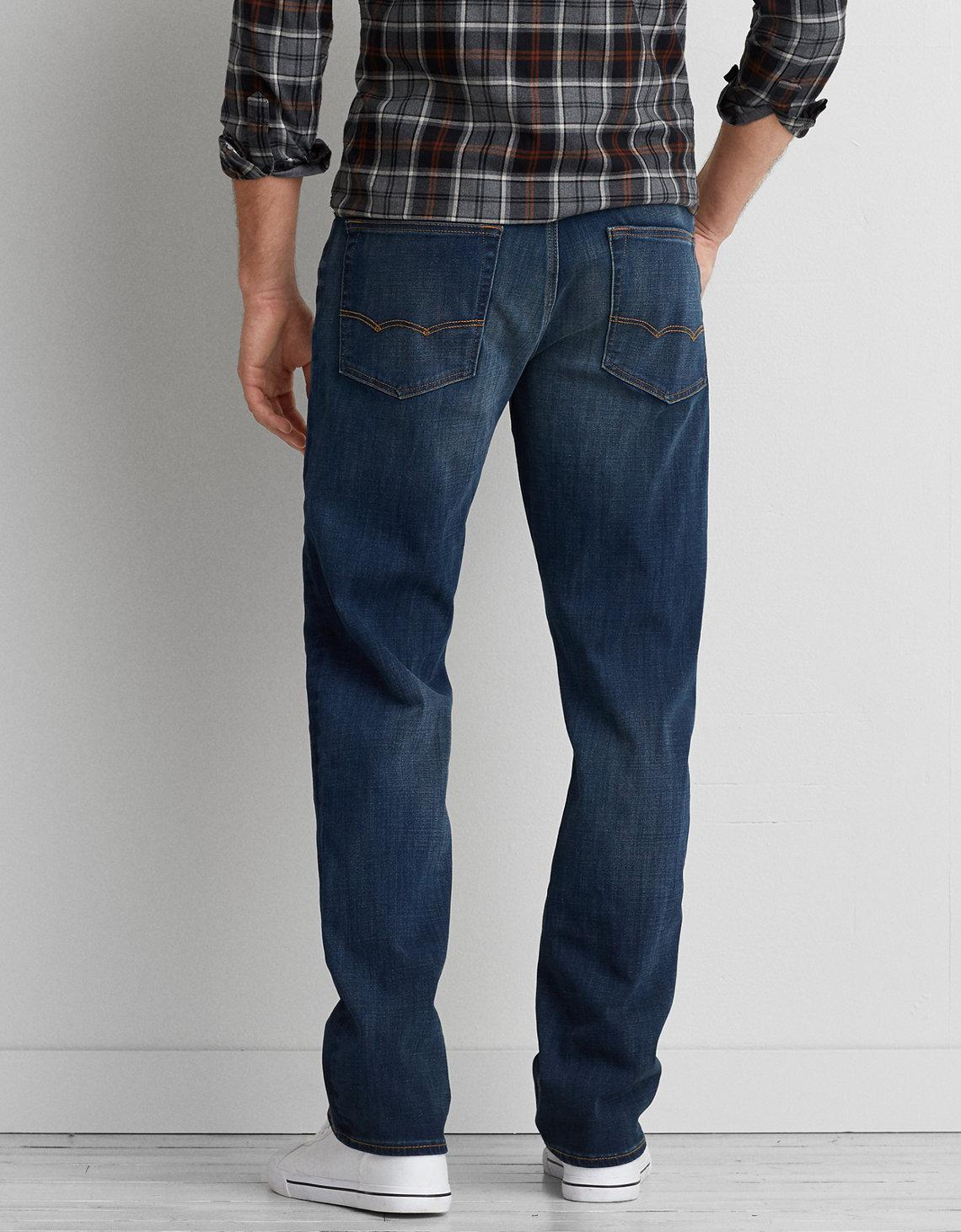 American Eagle Blue 360 Extreme Flex Relaxed Straight Jean for men