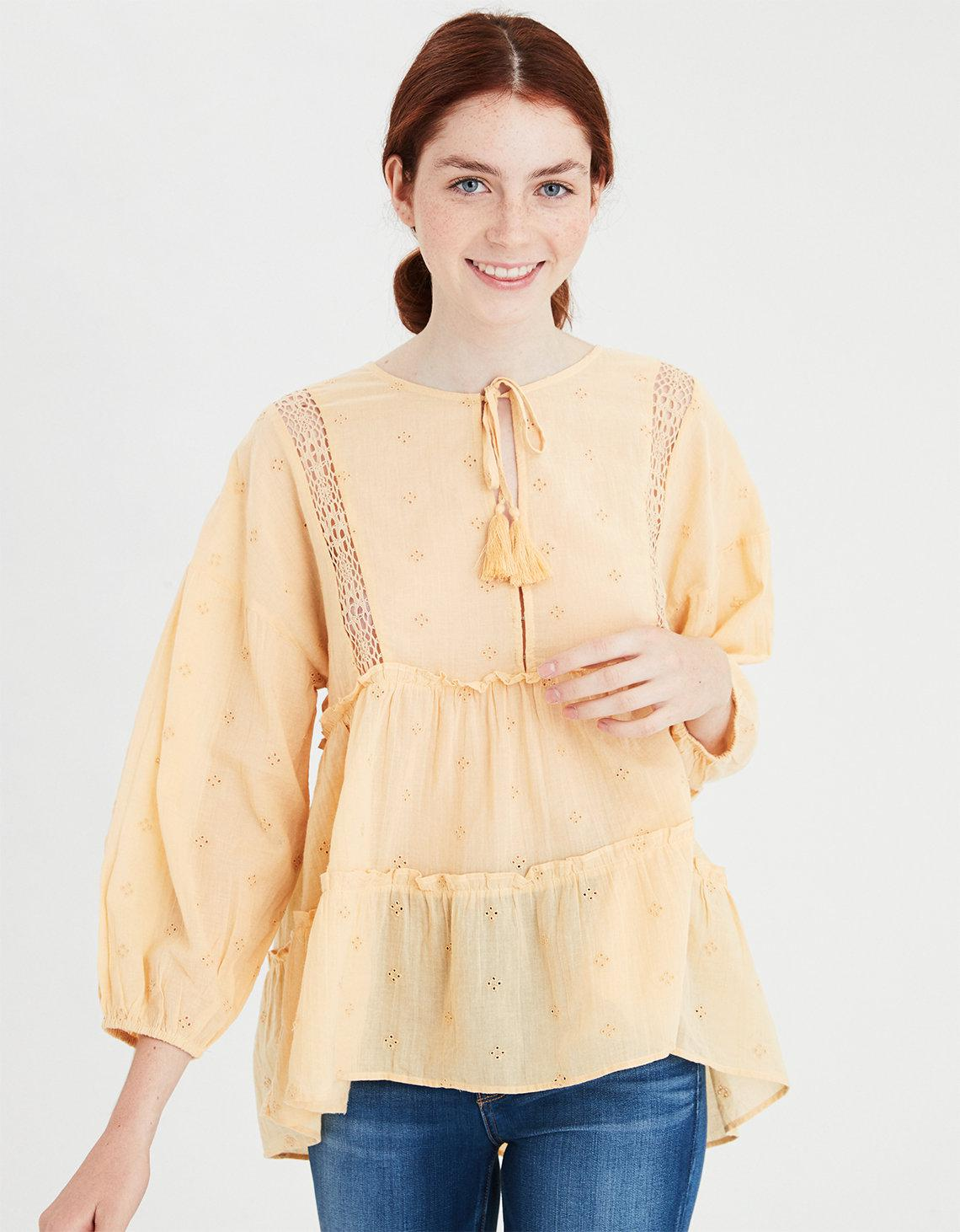 647e39be2b18a6 Lyst - American Eagle Ae Allover Eyelet Tiered Top in Yellow