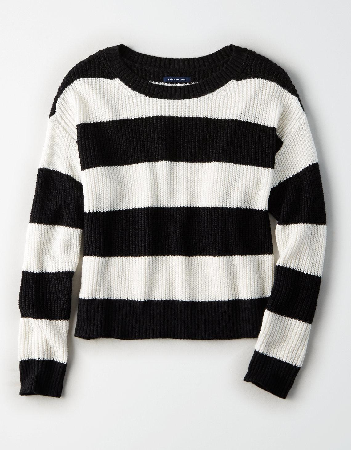 e0b74358f6 American Eagle Ae Rugby Stripe Sweater in Black - Lyst