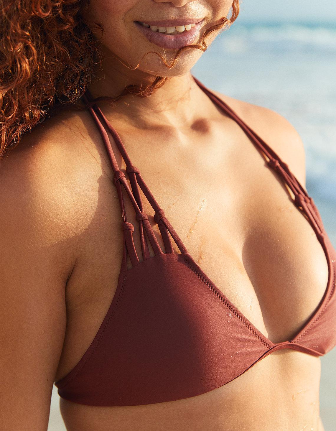 db78462aac Lyst - American Eagle Macrame Triangle Bikini Top in Brown