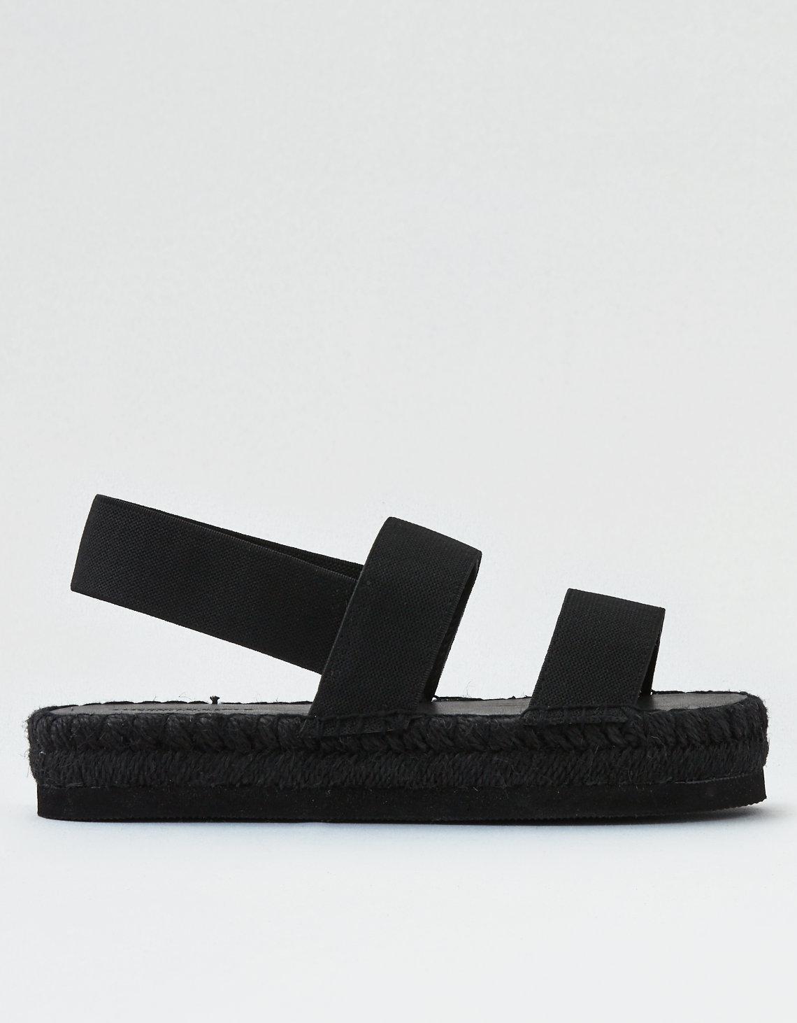 07e1ac28eea American Eagle Black Double Band Flatform Espadrille Sandal