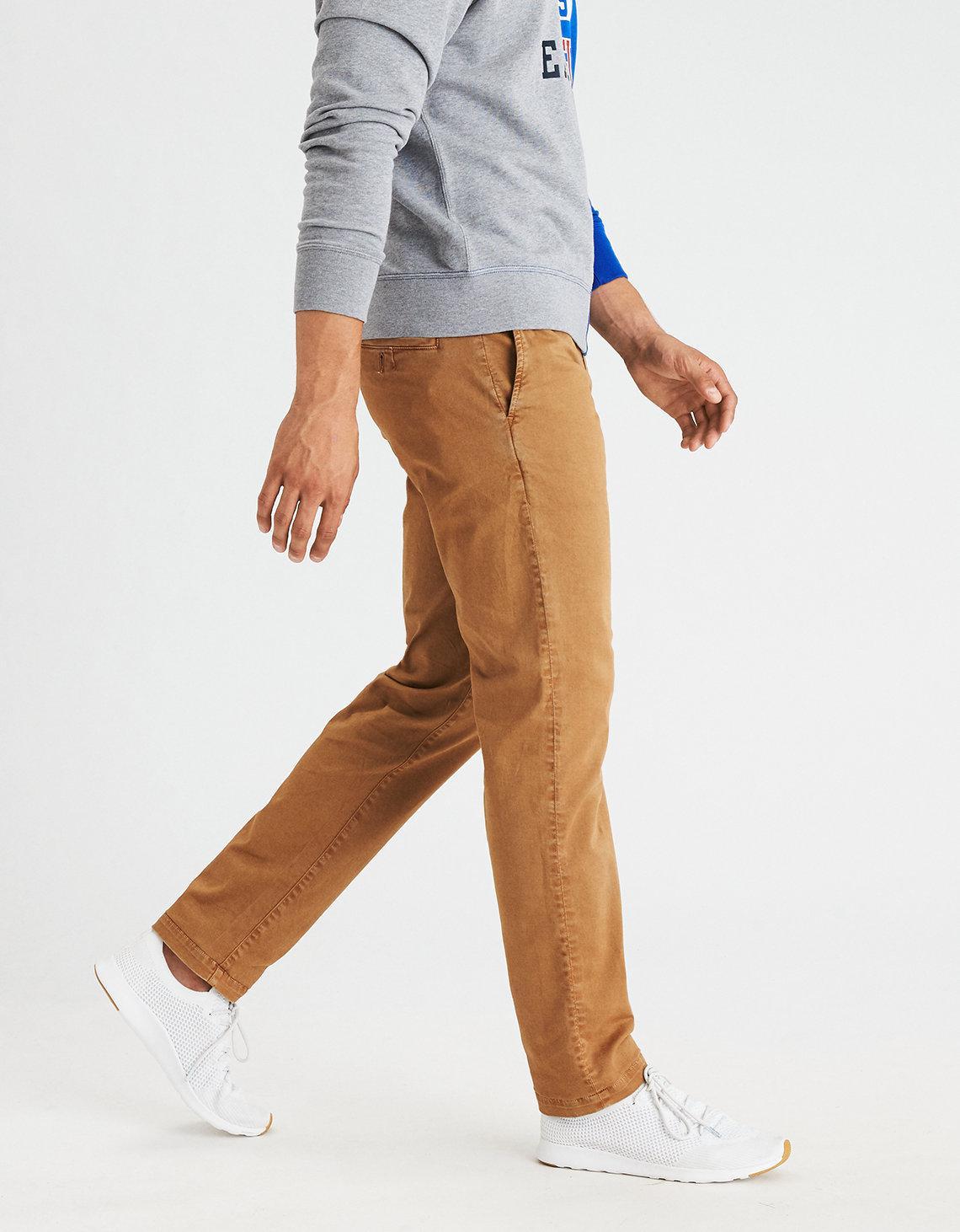 American Eagle Cotton Ae Extreme Flex Slim Straight Khaki Pant For Men Lyst