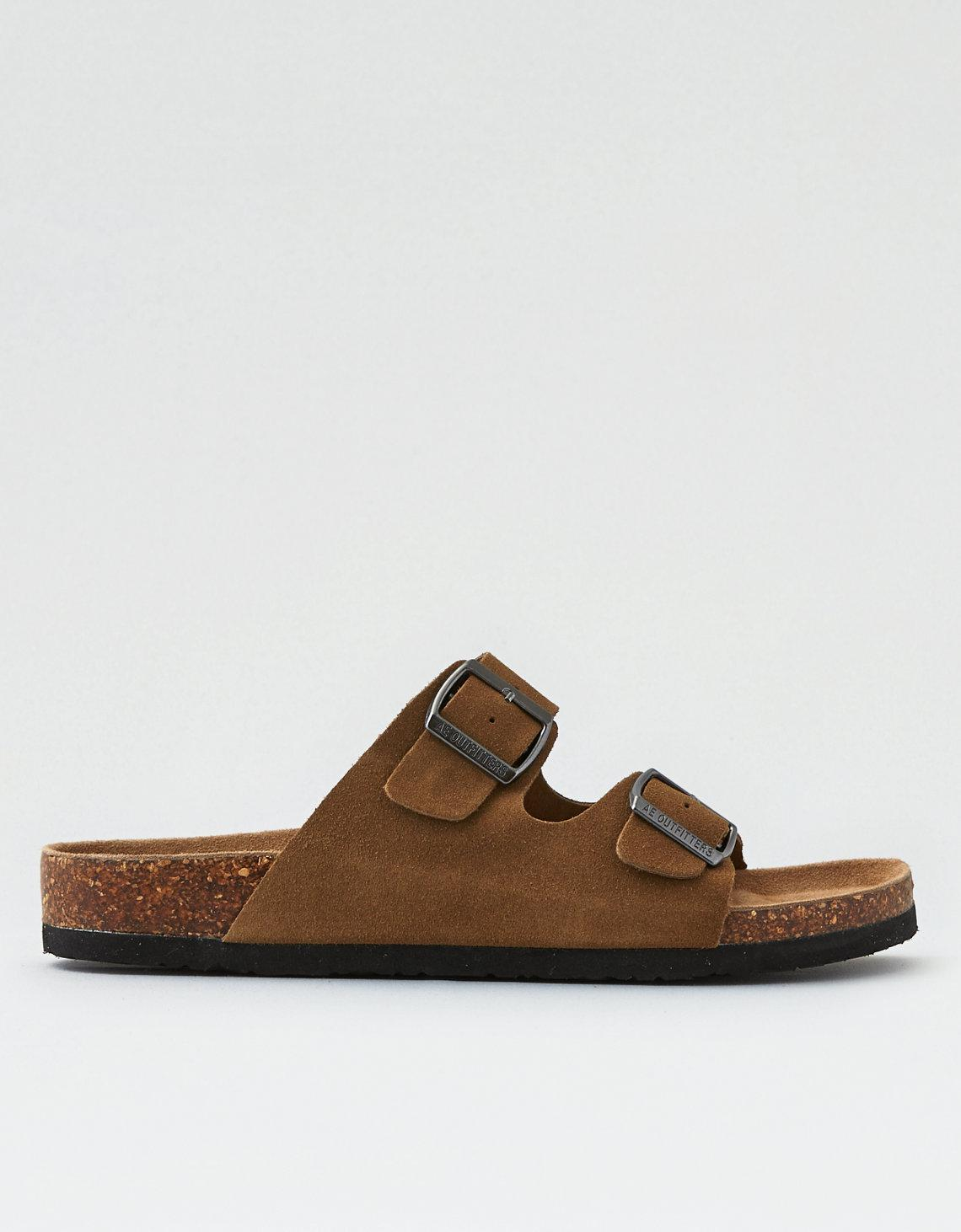 c8a140c316c3 Lyst - American Eagle Suede Double Buckle Sandal in Brown for Men