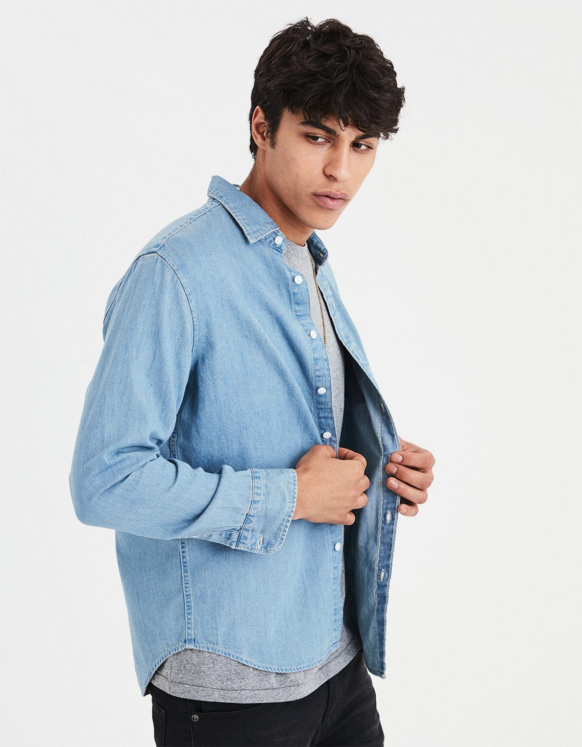 3e2779ff8d1 Lyst - American Eagle Ae Denim Button Down Shirt in Blue for Men