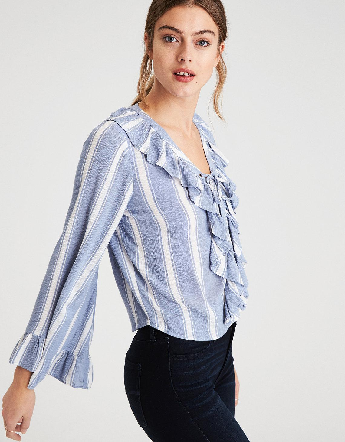 9d5cfeb9 American Eagle Ae Striped Long Sleeve Lace-up Top in Blue - Lyst