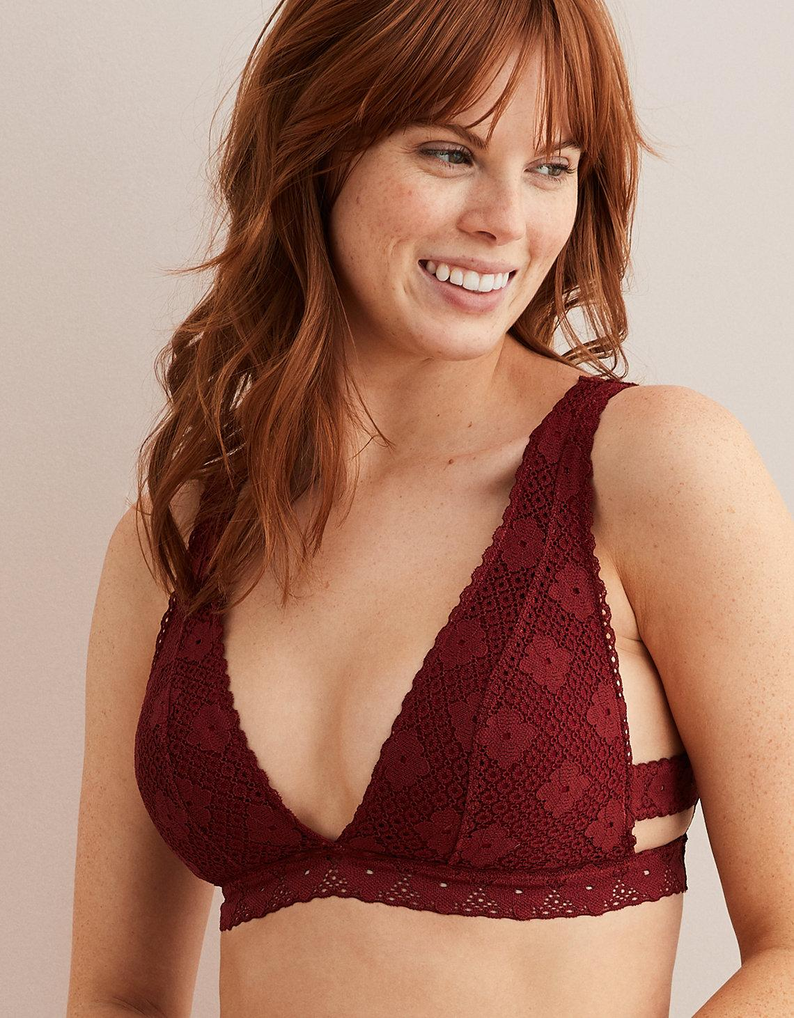 78ba86b3ab4c0 Lyst - American Eagle Island Lace Plunge Bralette in Red