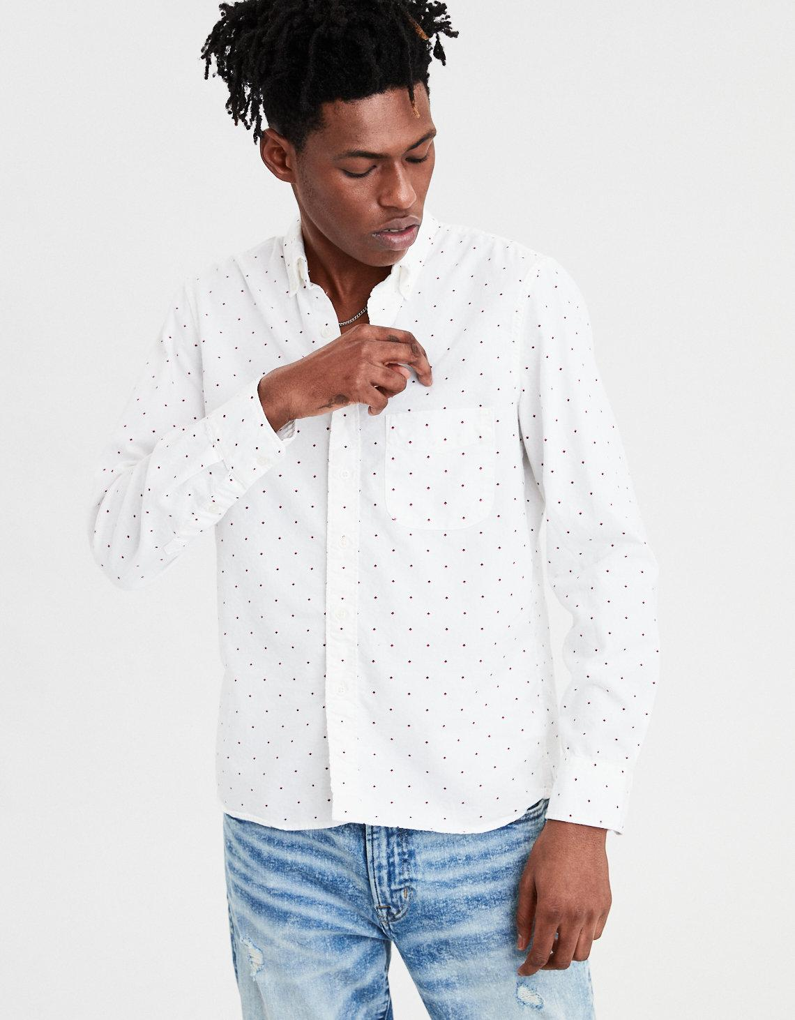 23dbf835f76f American Eagle Ae Long Sleeve Printed Oxford Button Down Shirt in ...