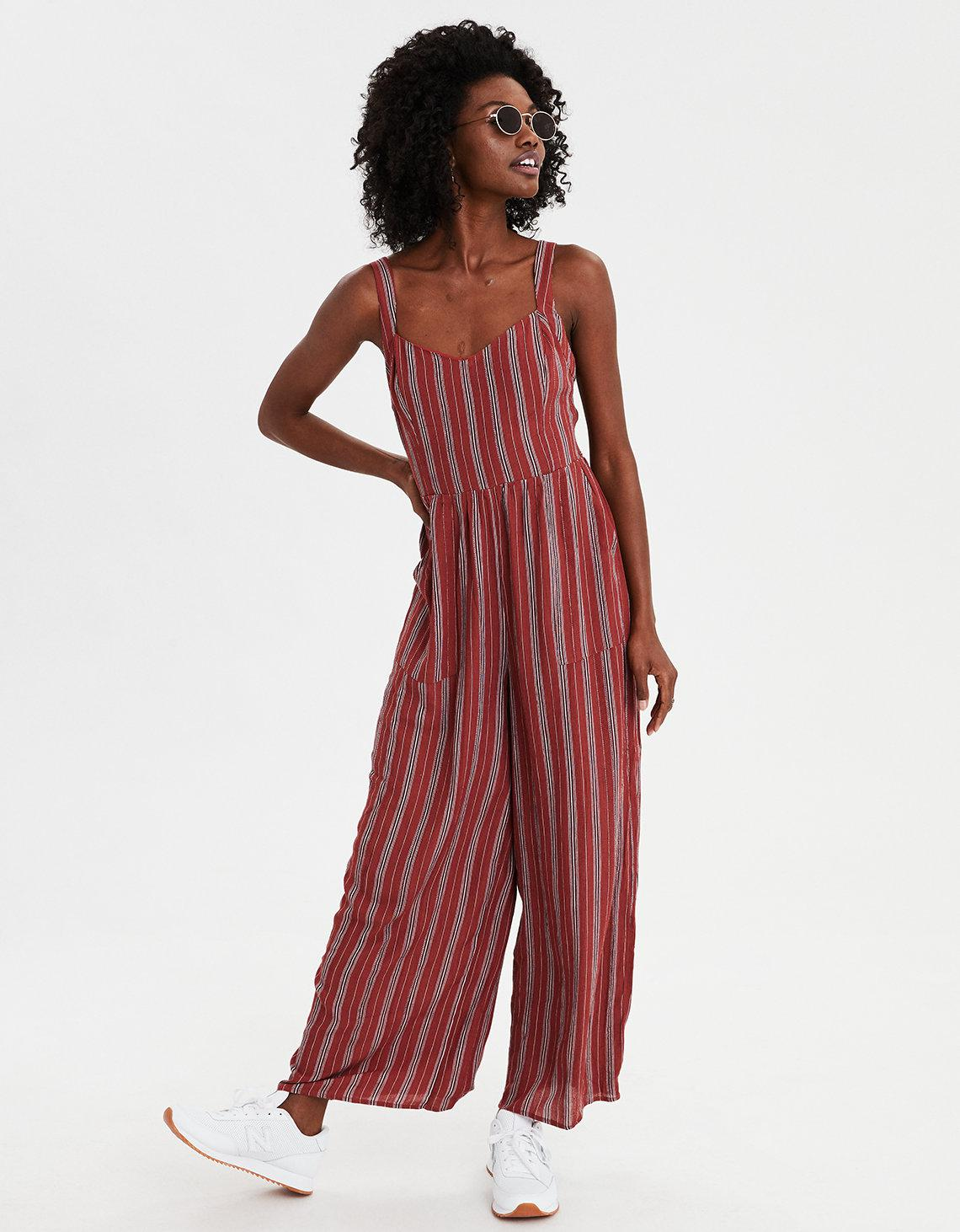 5ff324e3633 Lyst - American Eagle Ae Tie Waist Striped Jumpsuit in Red
