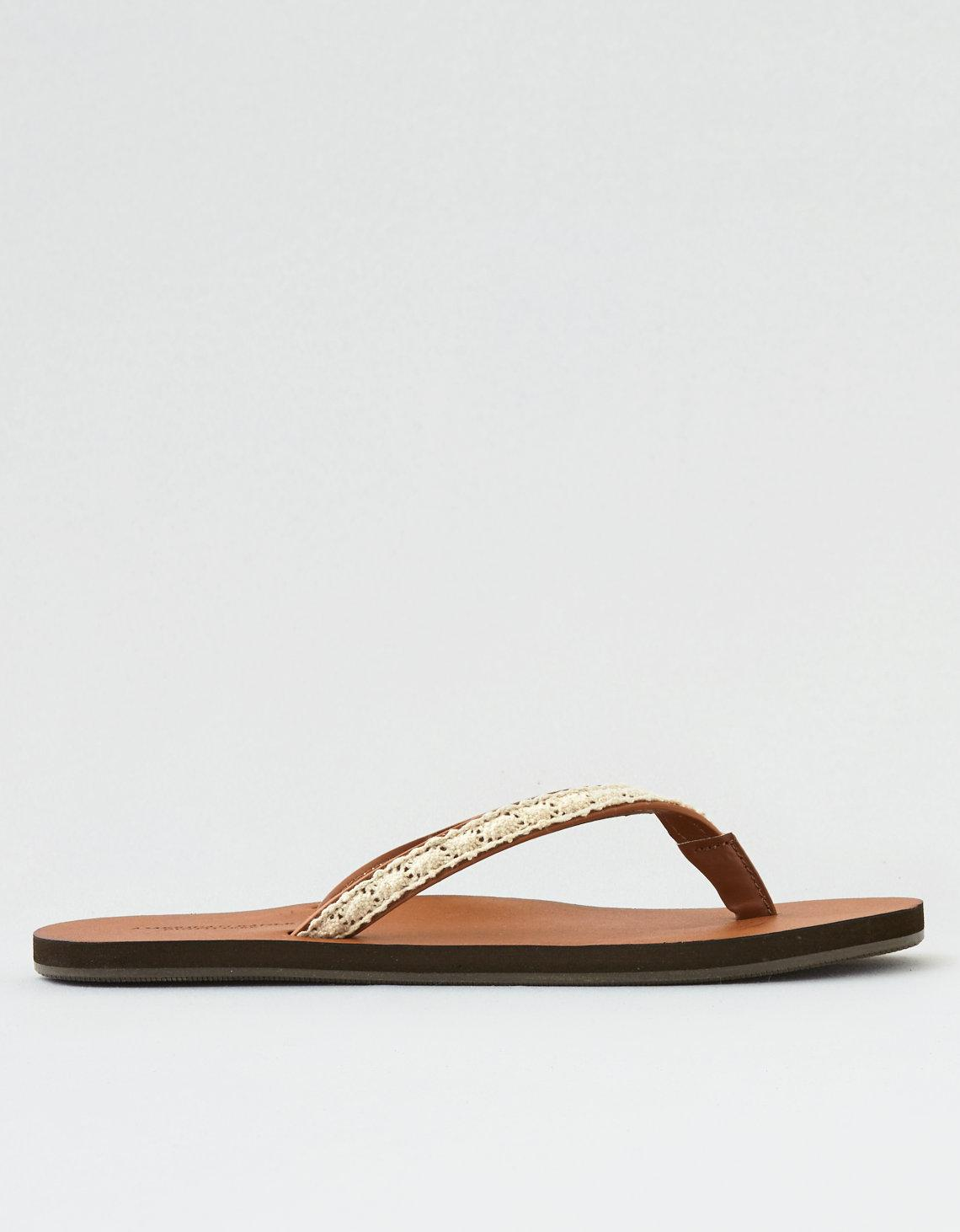 fb824e51dc4 Lyst - American Eagle Crochet Overlay Leather Flip Flop in Brown
