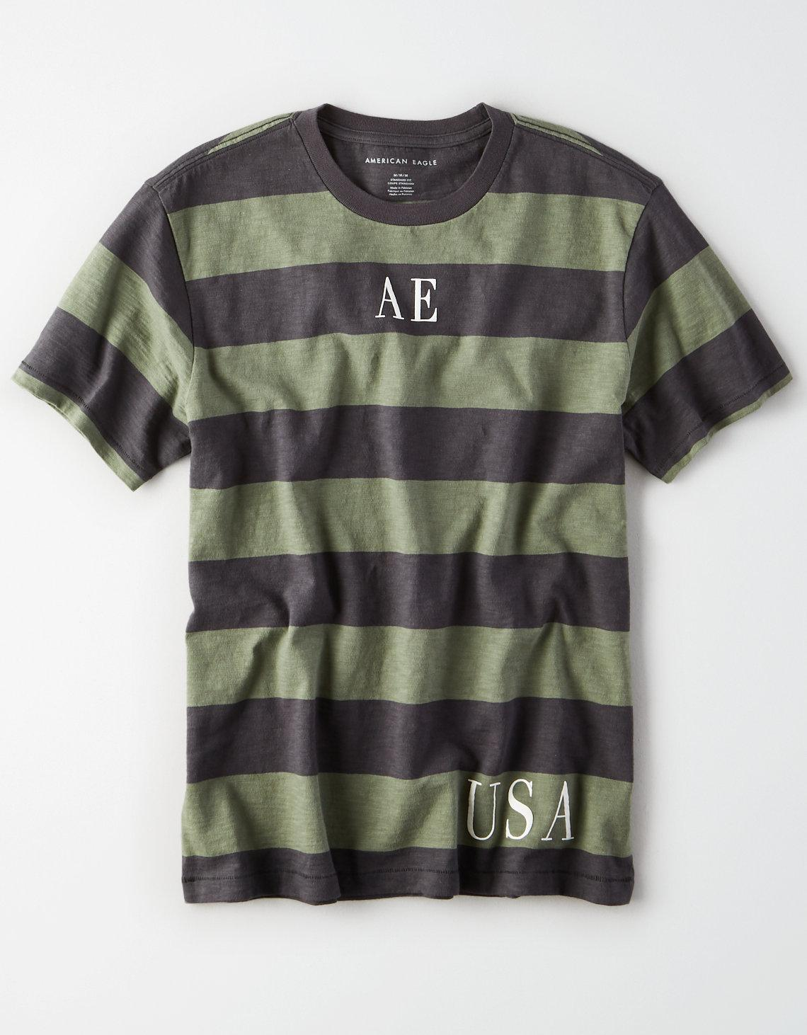 1b2c4ade American Eagle - Green Ae Short Sleeve Striped Graphic Tee for Men - Lyst.  View fullscreen