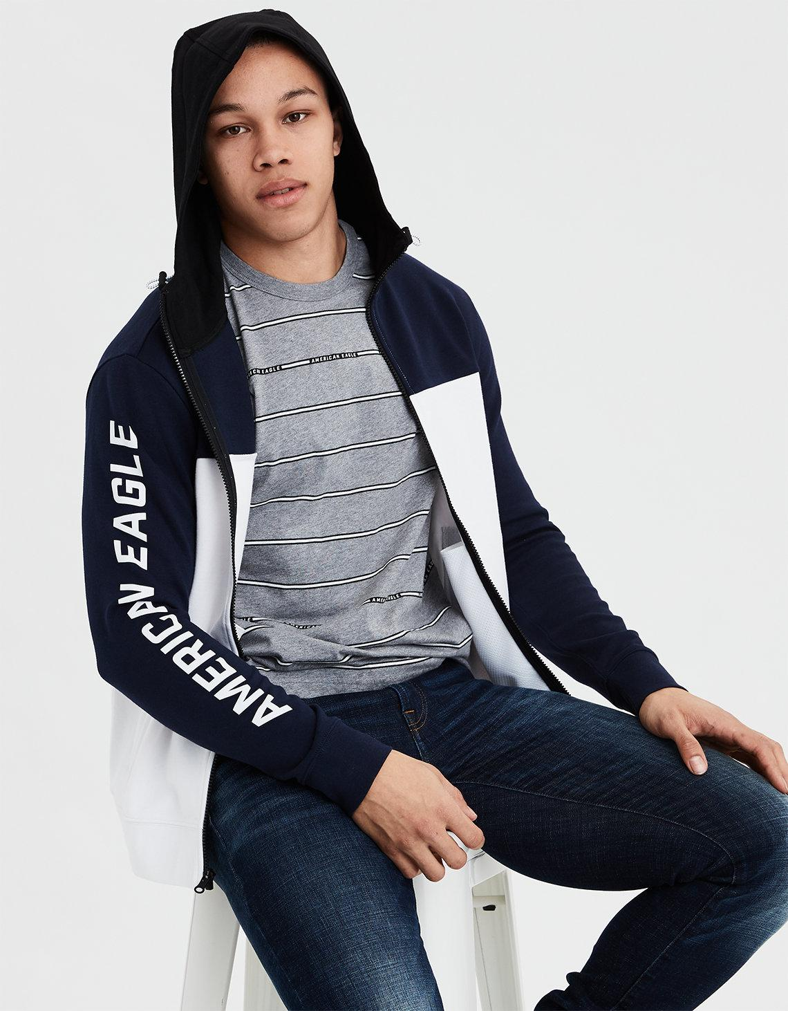 a49e5630e Lyst - American Eagle Ae Color Block Zip-up Hoodie in Blue for Men