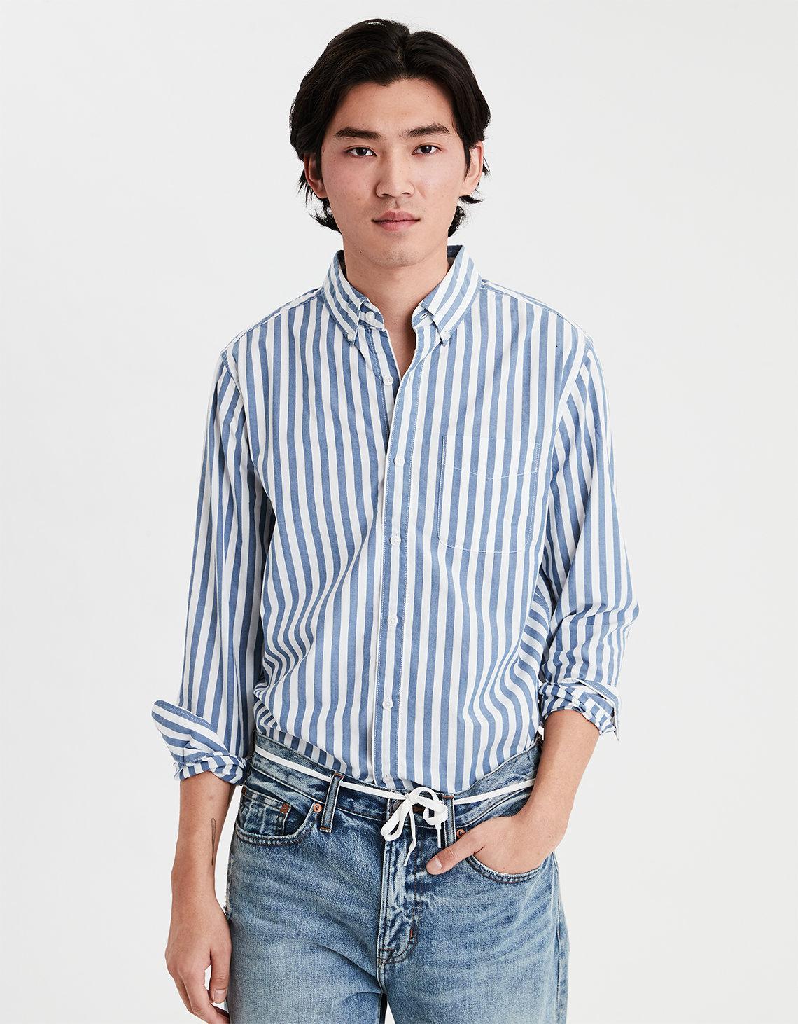 15e28f7da1f Lyst - American Eagle Ae Long Sleeve Button Down Shirt in Blue for Men