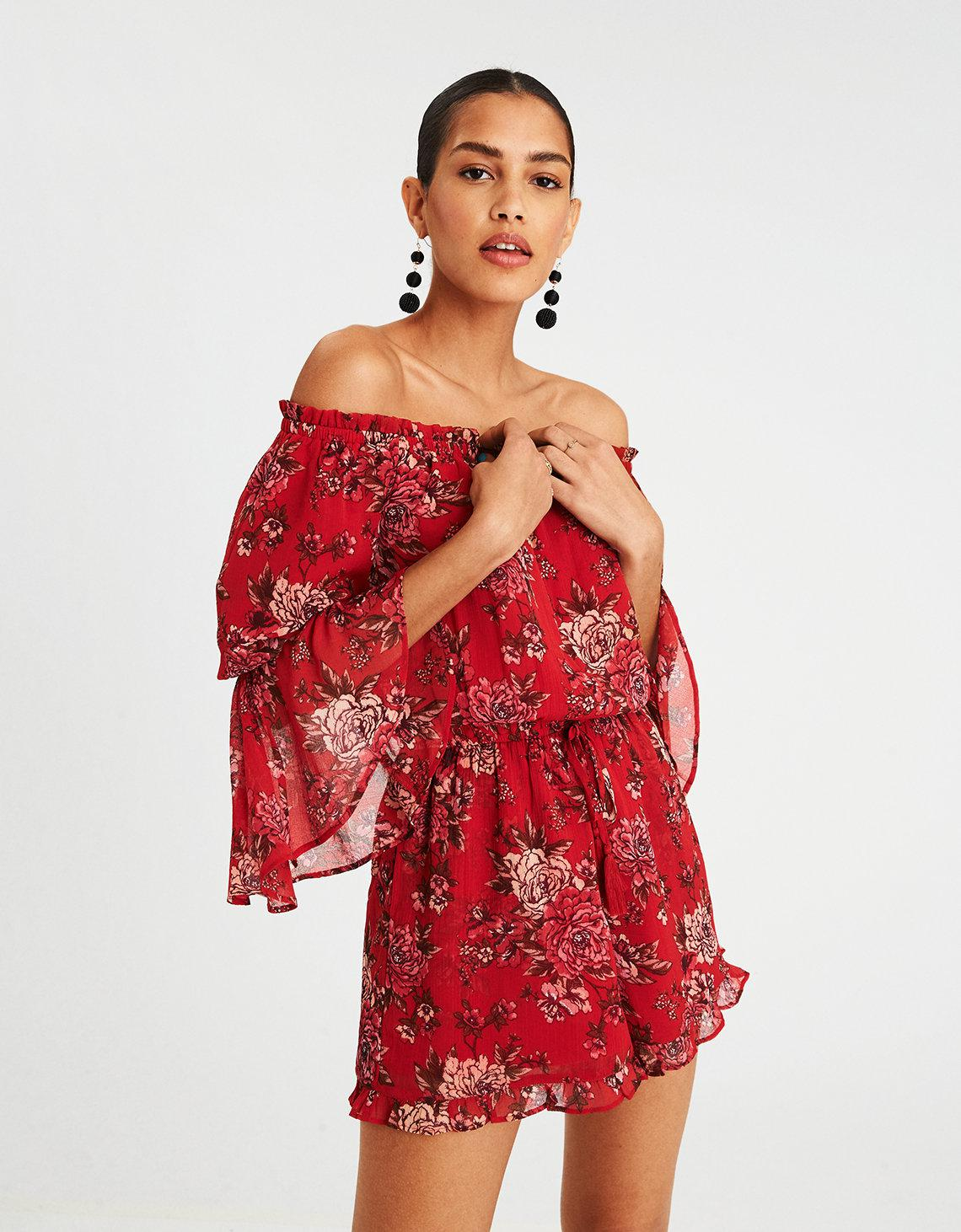 a1682080b8b Lyst - American Eagle Ae Off-the-shoulder Ruffle Sleeve Romper in Red