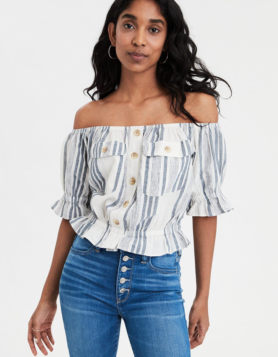 64728560cf49b Lyst - American Eagle Ae Patch Pocket Off-the-shoulder Top in Blue