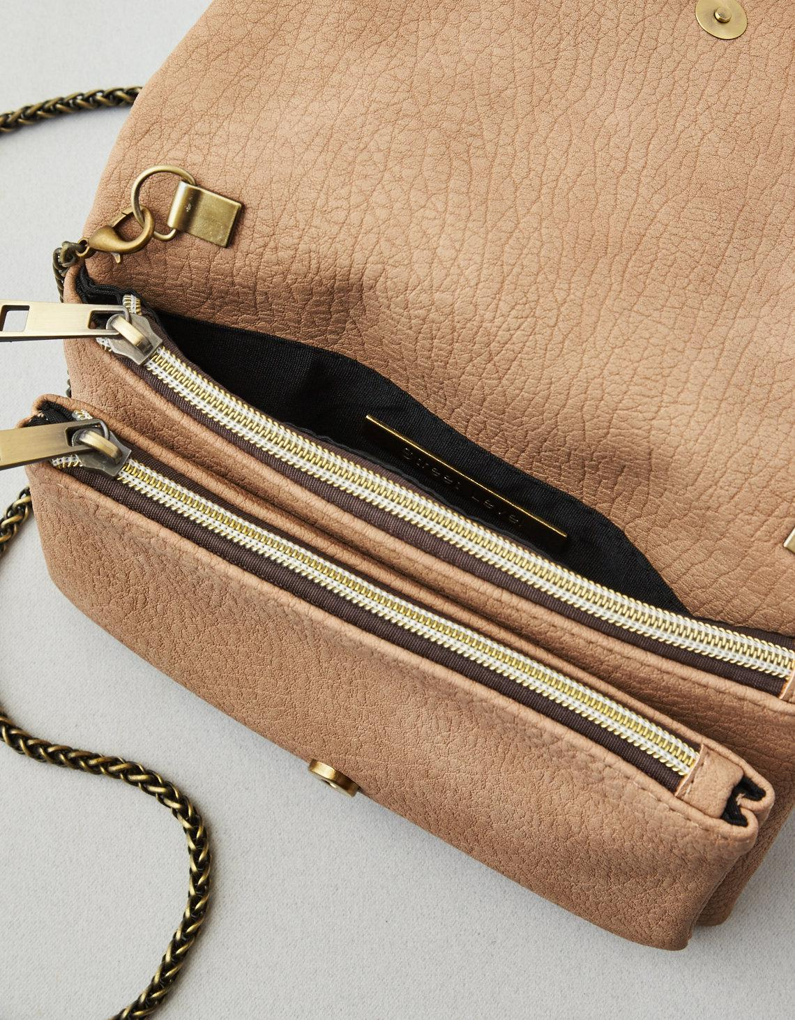 Tan Street Level Crossbody Zipper Solid Bag