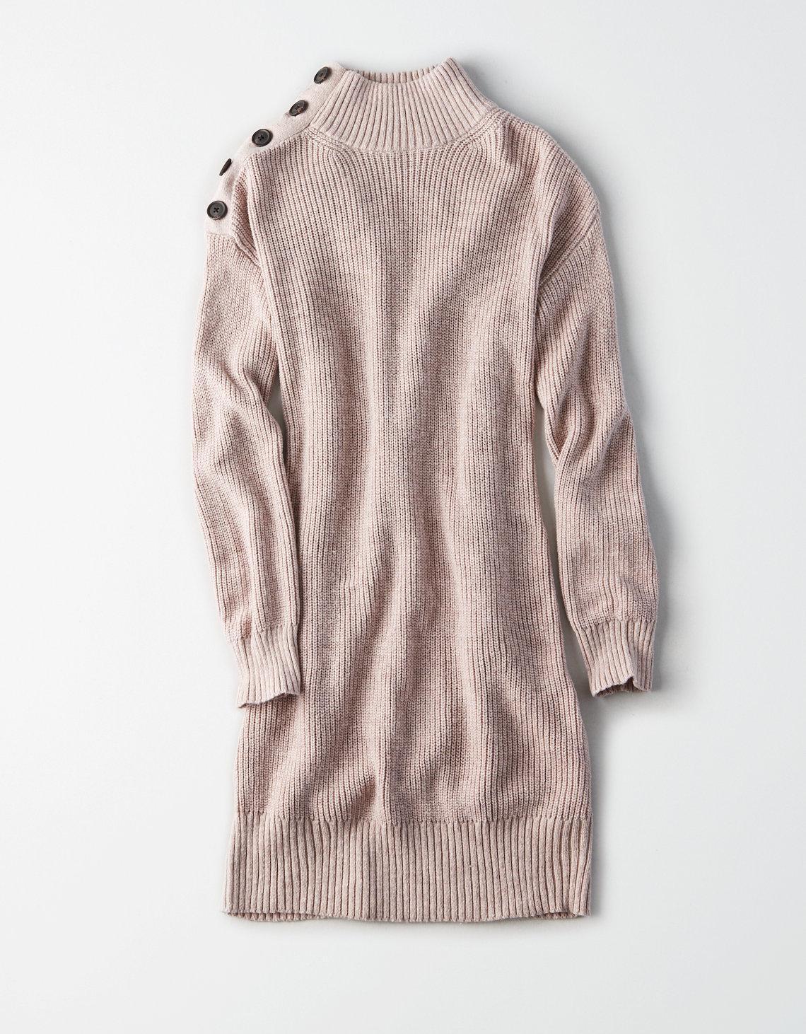 Ae Button Shoulder Mock Neck Sweater Dress