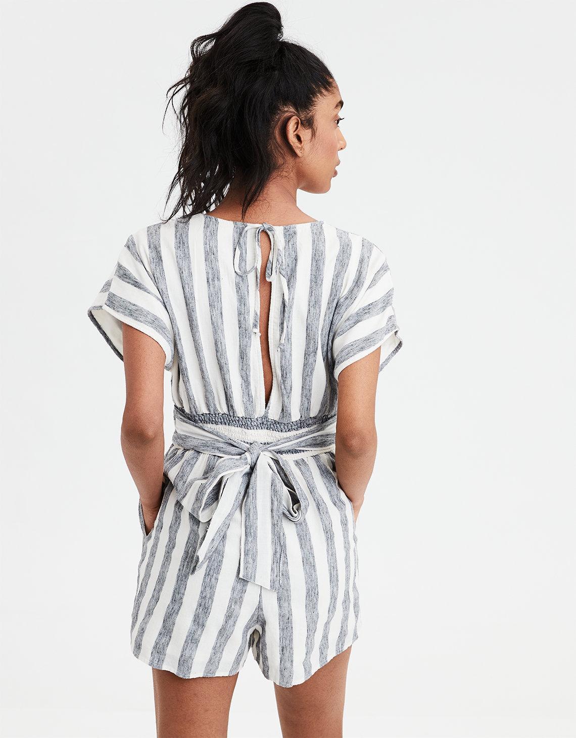 63426075fec Lyst - American Eagle Ae Striped Kimono Romper