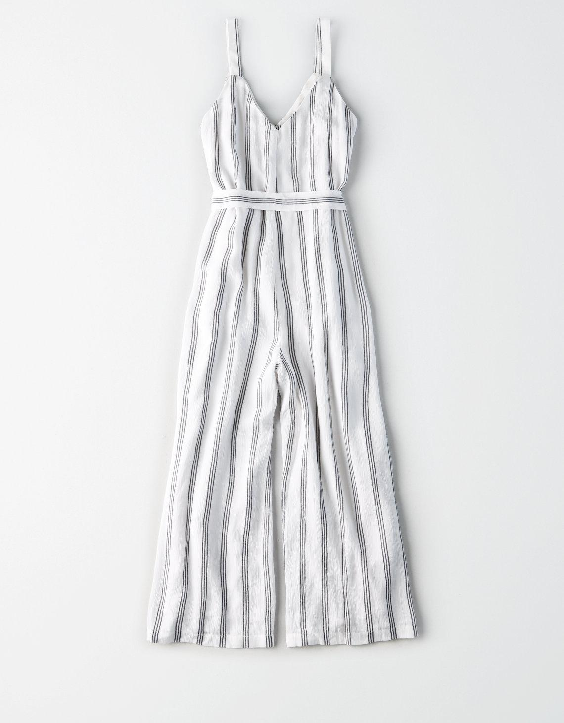 3dec745a6849 Lyst - American Eagle Ae Striped Button-front Culotte Jumpsuit in White