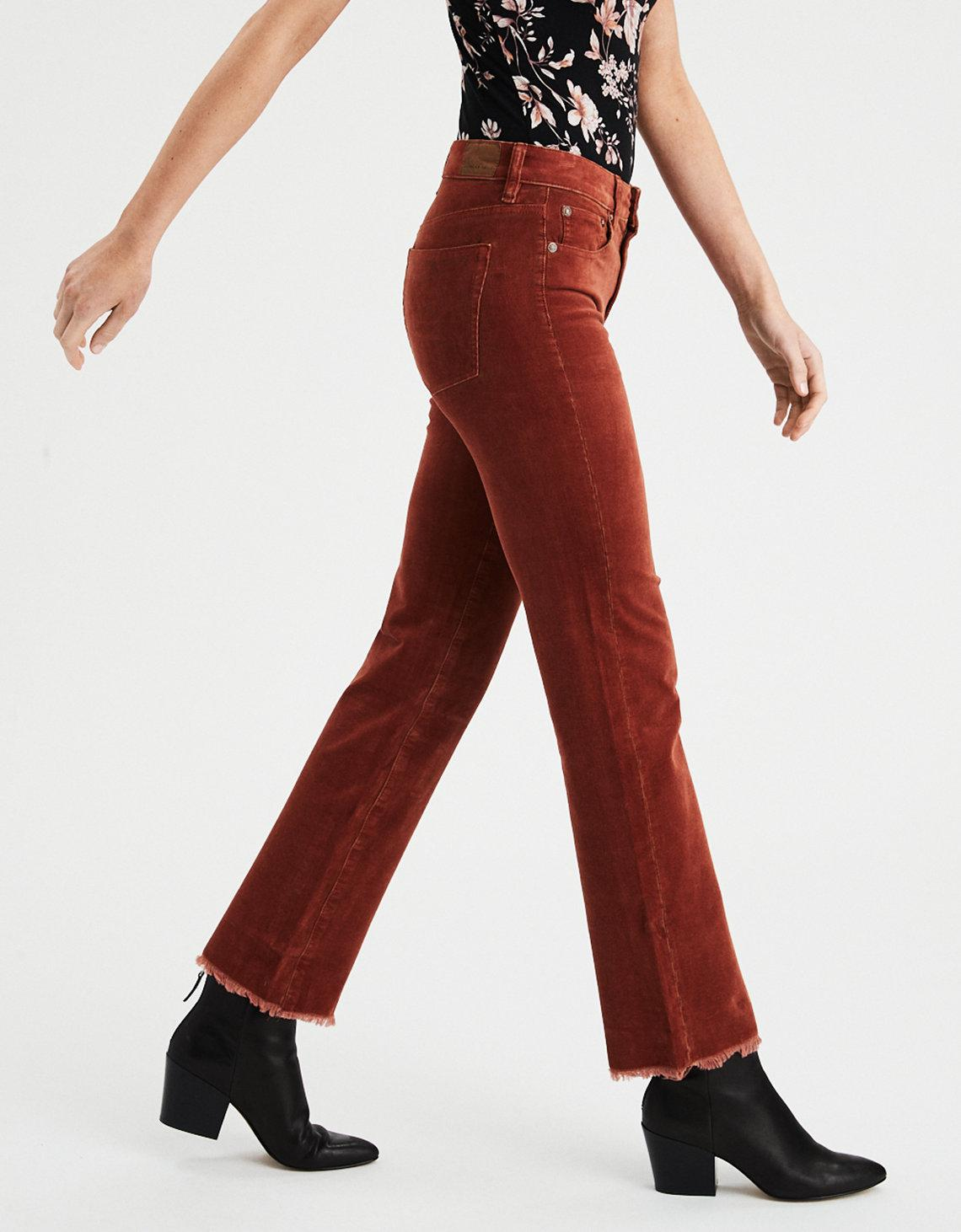 a878adbfef American Eagle High-waisted Crop Flare Corduroy Pant in Brown - Lyst