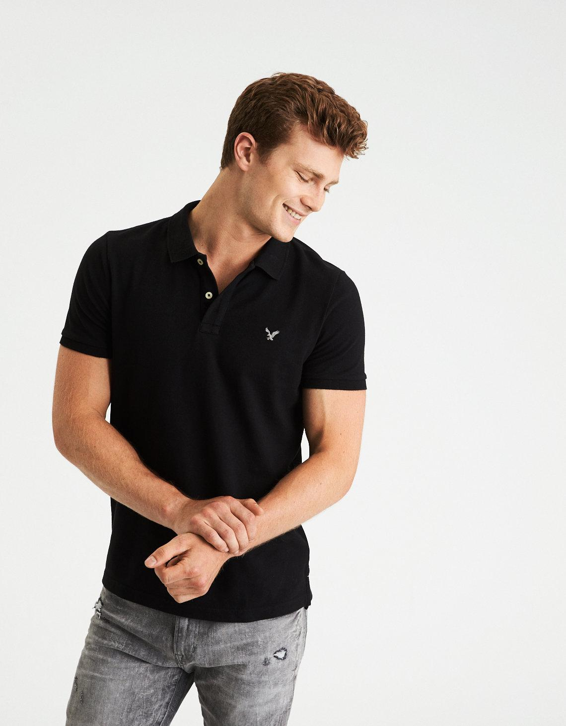 bf269ea2 American Eagle Ae Stretch Pique Logo Polo Shirt in Black for Men - Lyst