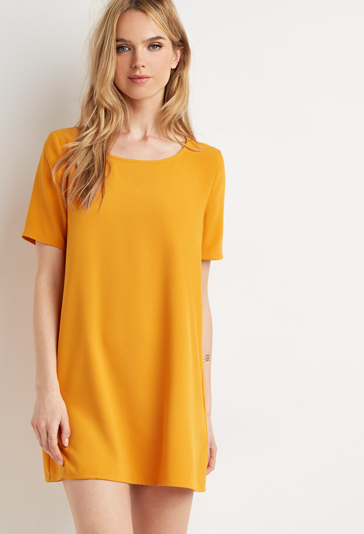 a8ae7d9f64d Forever 21 Crepe Shift Dress in Yellow - Lyst