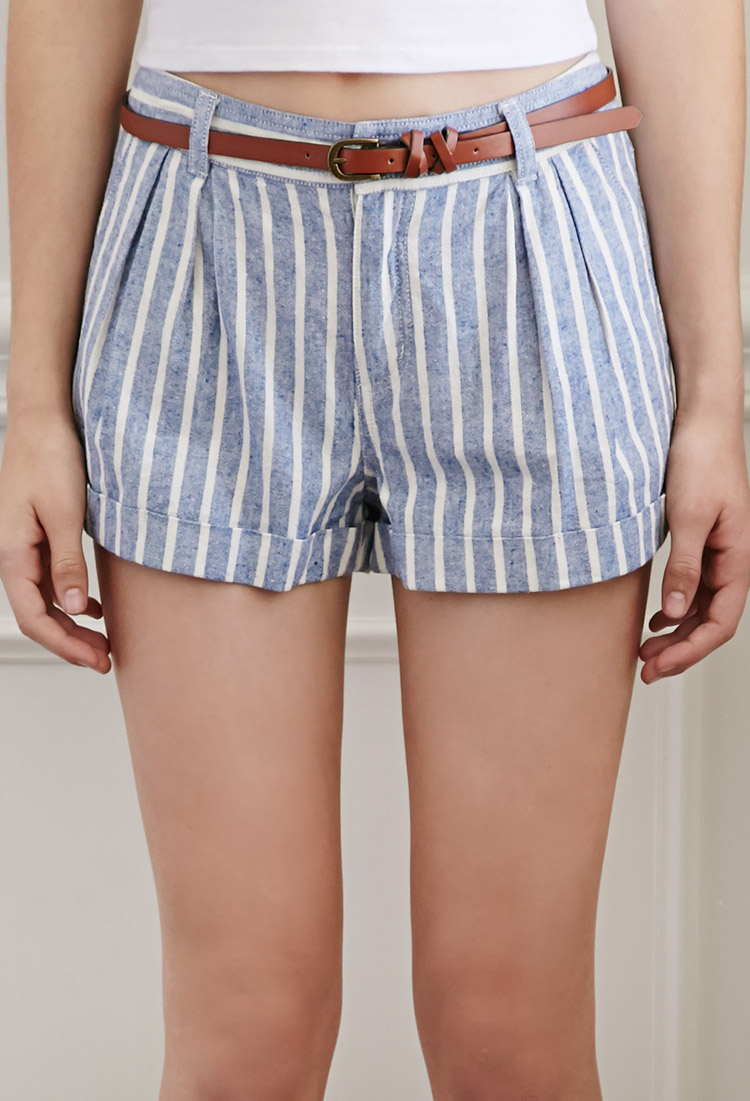 Forever 21 Striped Linen Belted Shorts In Blue Lyst