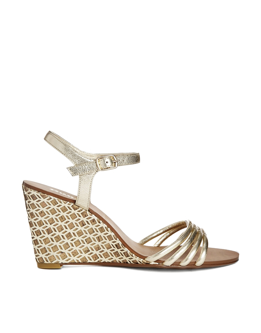 Lyst Dune Hath Di Gold Strappy Mid Heeled Wedge Sandals
