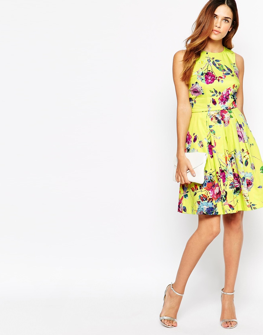 Warehouse Yellow Floral Prom Dress in Yellow | Lyst