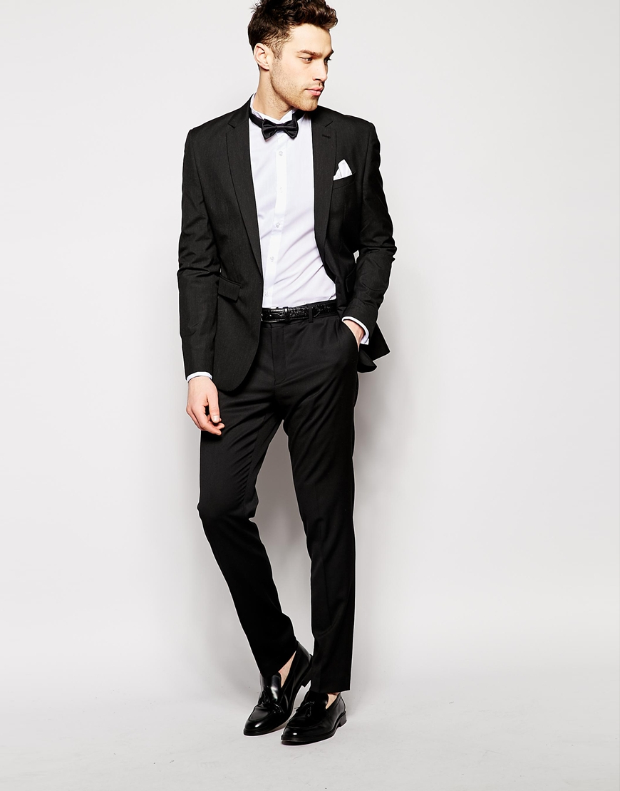 b1798027c1577 Lyst - ASOS Smart Tux Shirt With Textured Wing Collar And Bow Tie ...