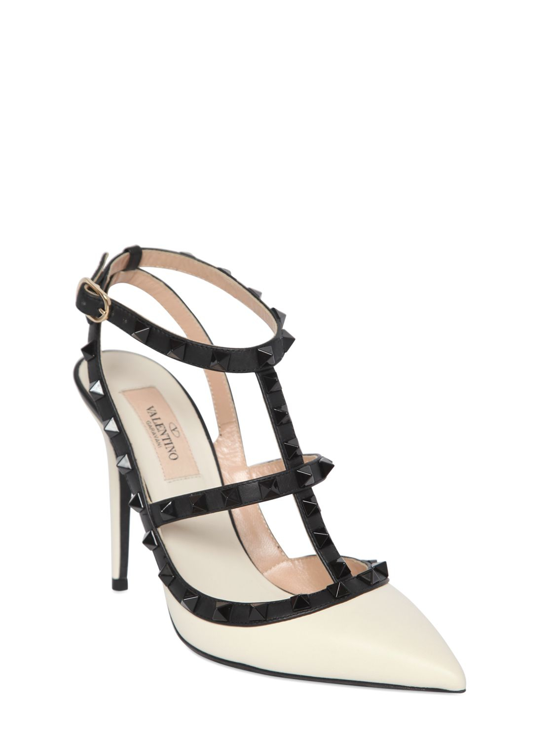 valentino 100mm rockstud two tone leather pumps in black