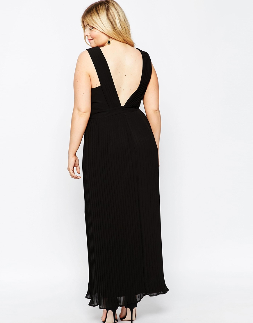 asos curve pleated maxi dress with deep v back in black lyst. Black Bedroom Furniture Sets. Home Design Ideas